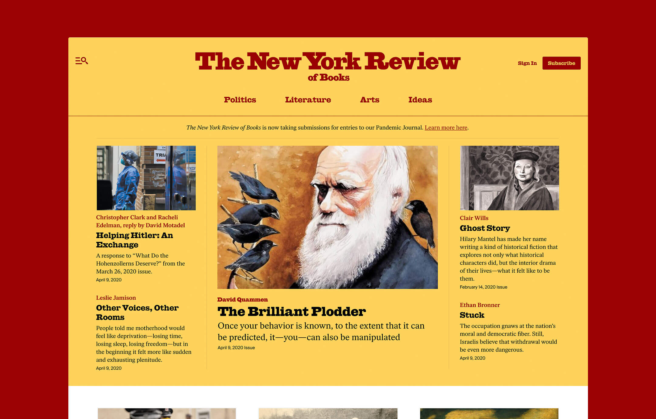 Screenshot of the New York Review of Books homepage