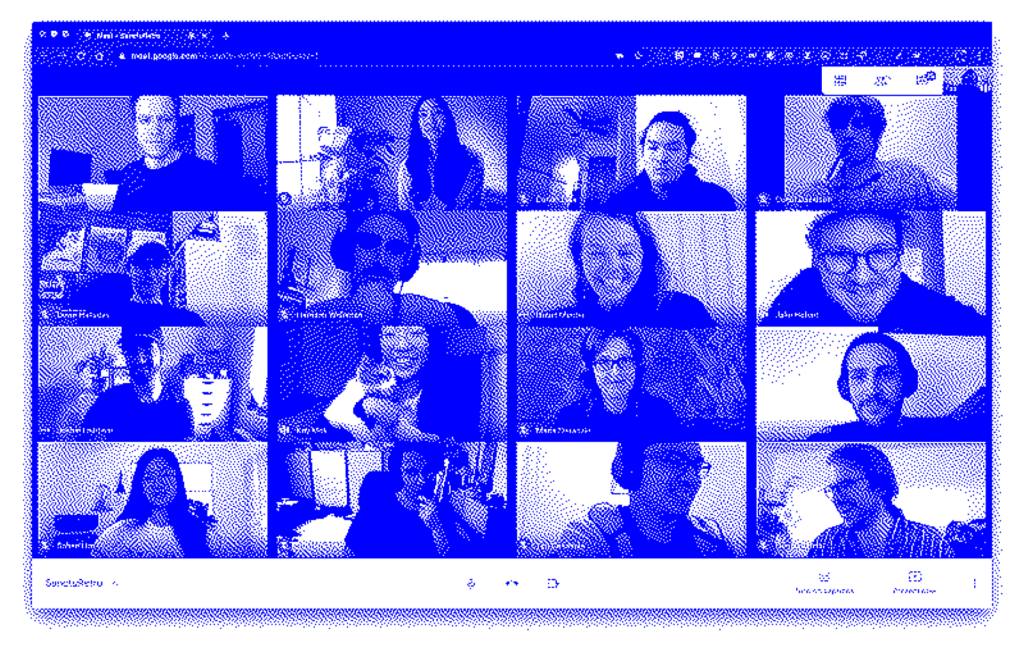 A pixelated, blue image of a Zoom-call window with sixteen participants.