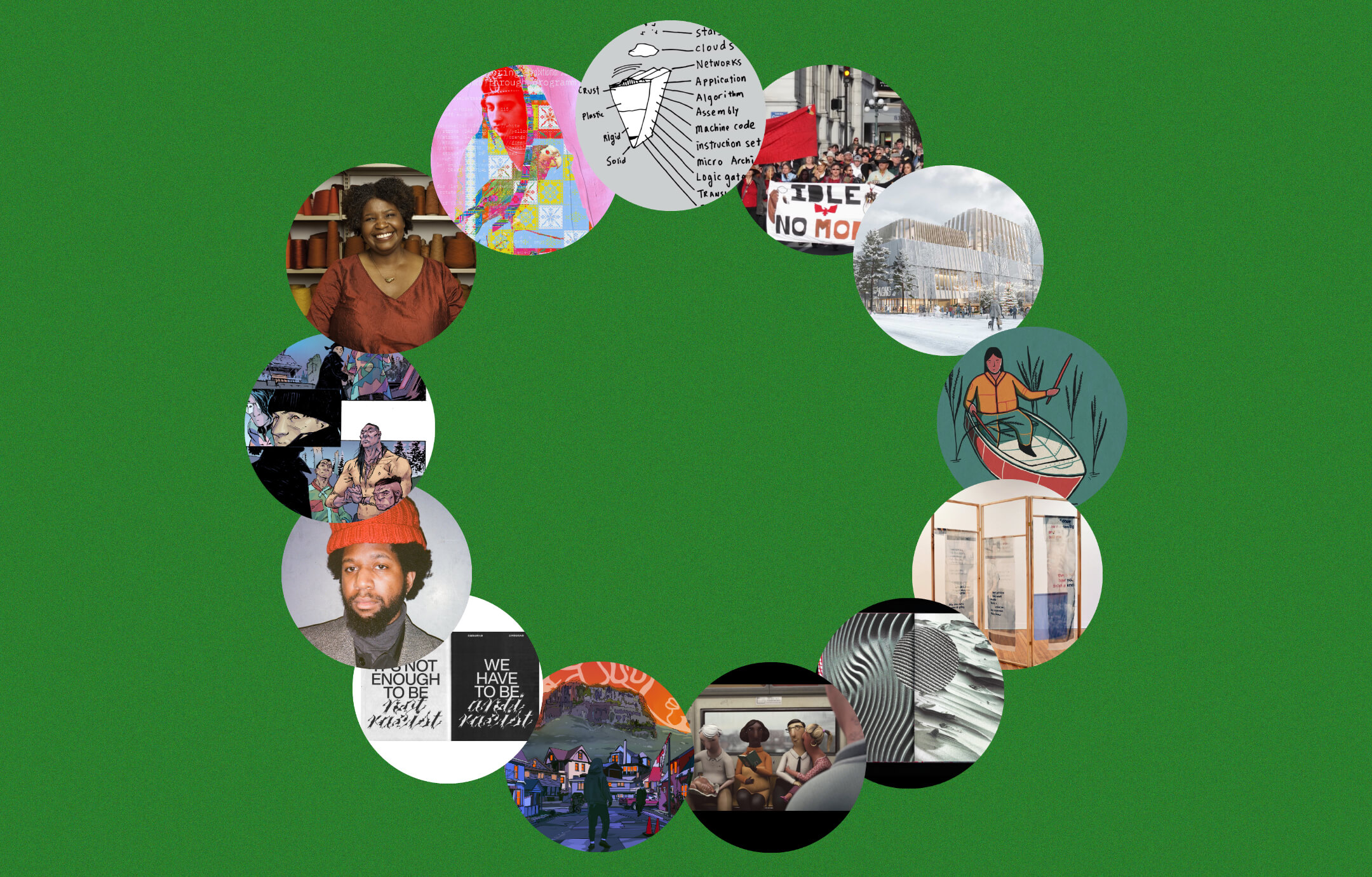 A wreath made of circular cutouts from other images, on a green background