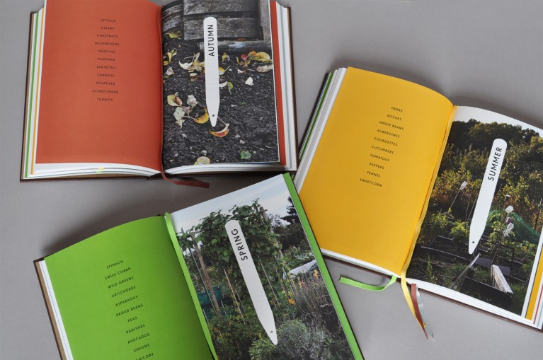 Three copies of Vegetables from an Italian garden, each open to a different spread. Each spread features a monochrome color on the left-hand page and a large photograph on the right-hand side.