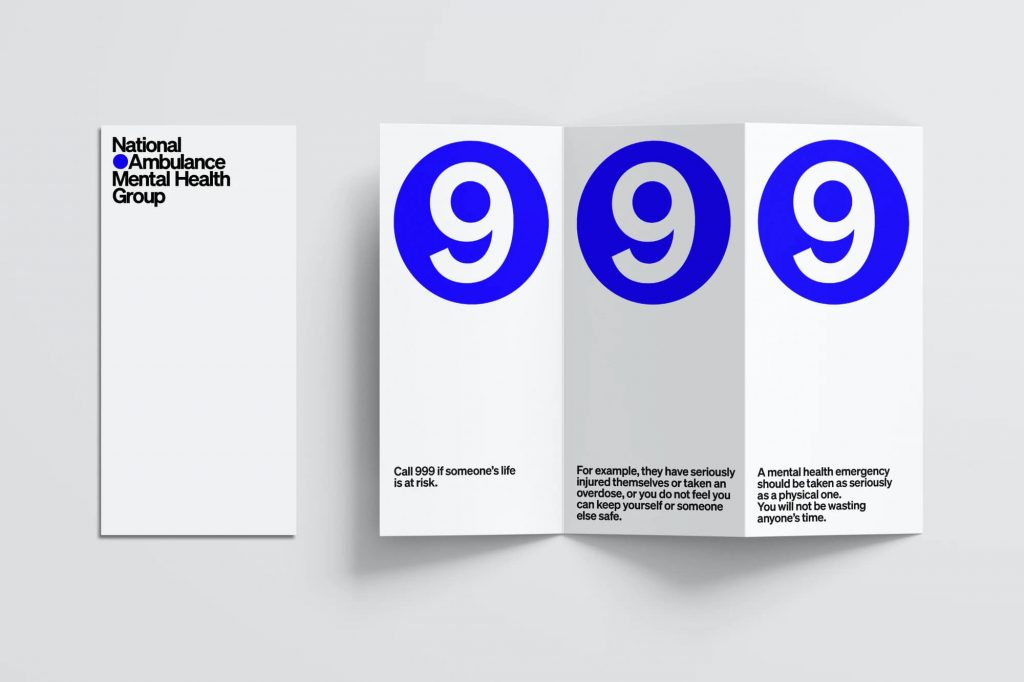 Brochure for the National Ambulance Mental Health Group. The black-and-white folding brochure includes three large blue circles incorporating the number 9, which, when unfolded, remind readers to call 999 if they are experiencing a medical emergency.