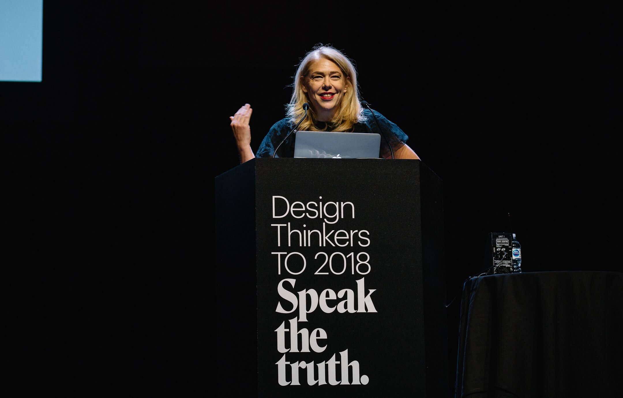 Bonnie Siegler onstage at DesignThinkers 2018 Toronto. Photograph by Connie Tsang.