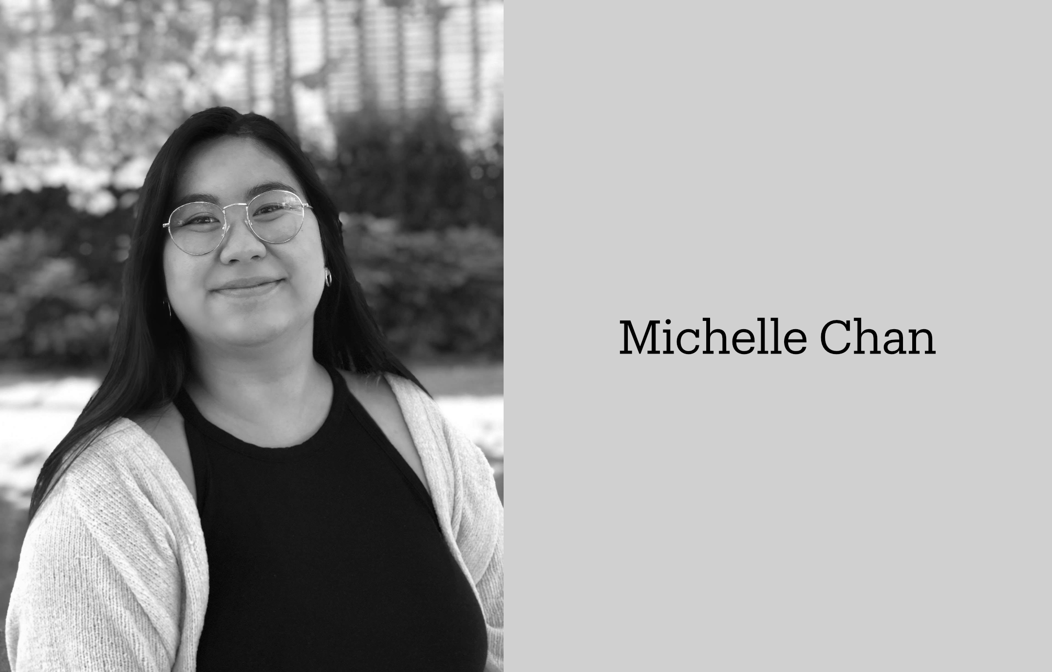 Black-and-white half-length portrait of designer Michelle Chan