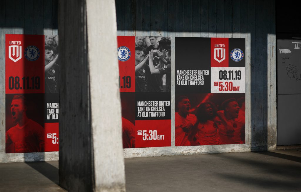 Mockup of posters advertising a match between Manchester United and Chelsea FC, part of a project designed by Angad Singh
