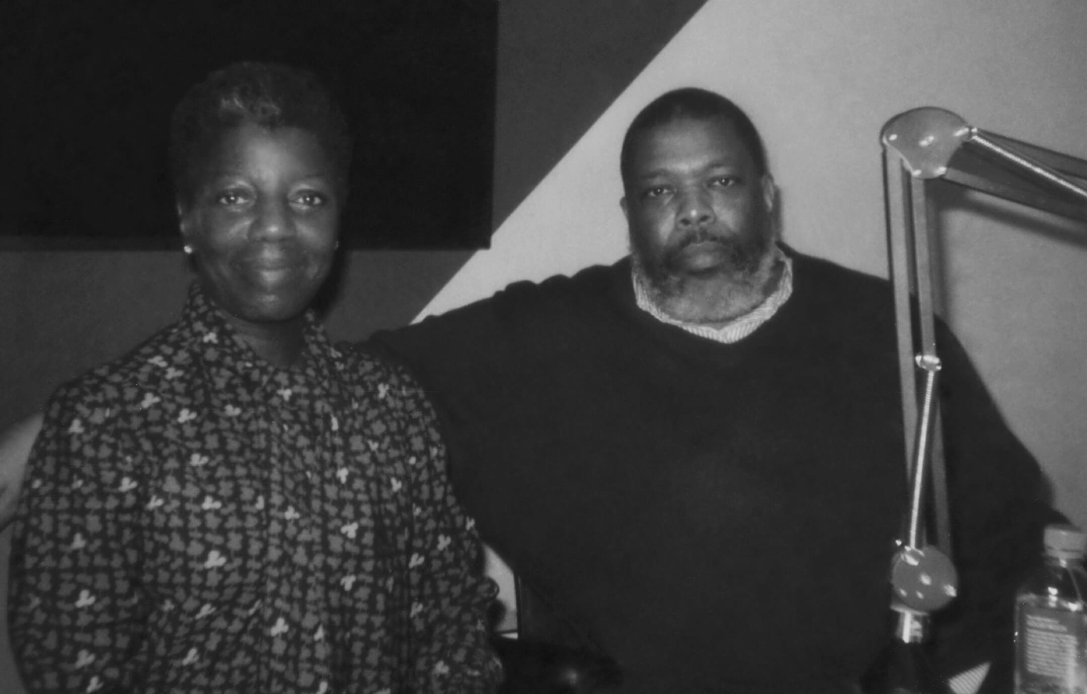 Thelma Golden and Hilton Als in the David Zwirner studio.