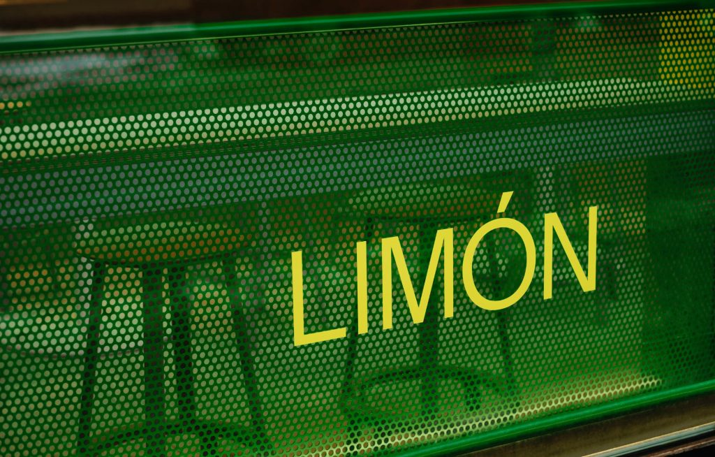 The word LIMÓN appears in yellow on a storefront window, behind which is a bright green perforated screen.