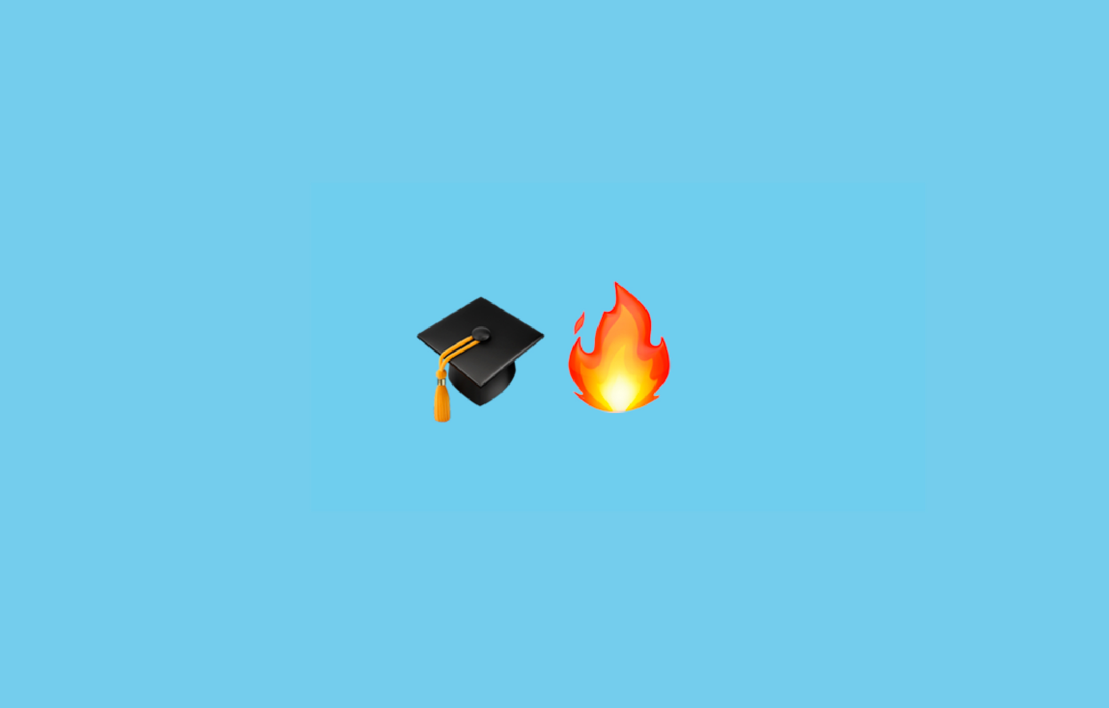 Graduation cap and fire emojis on a monochrome background