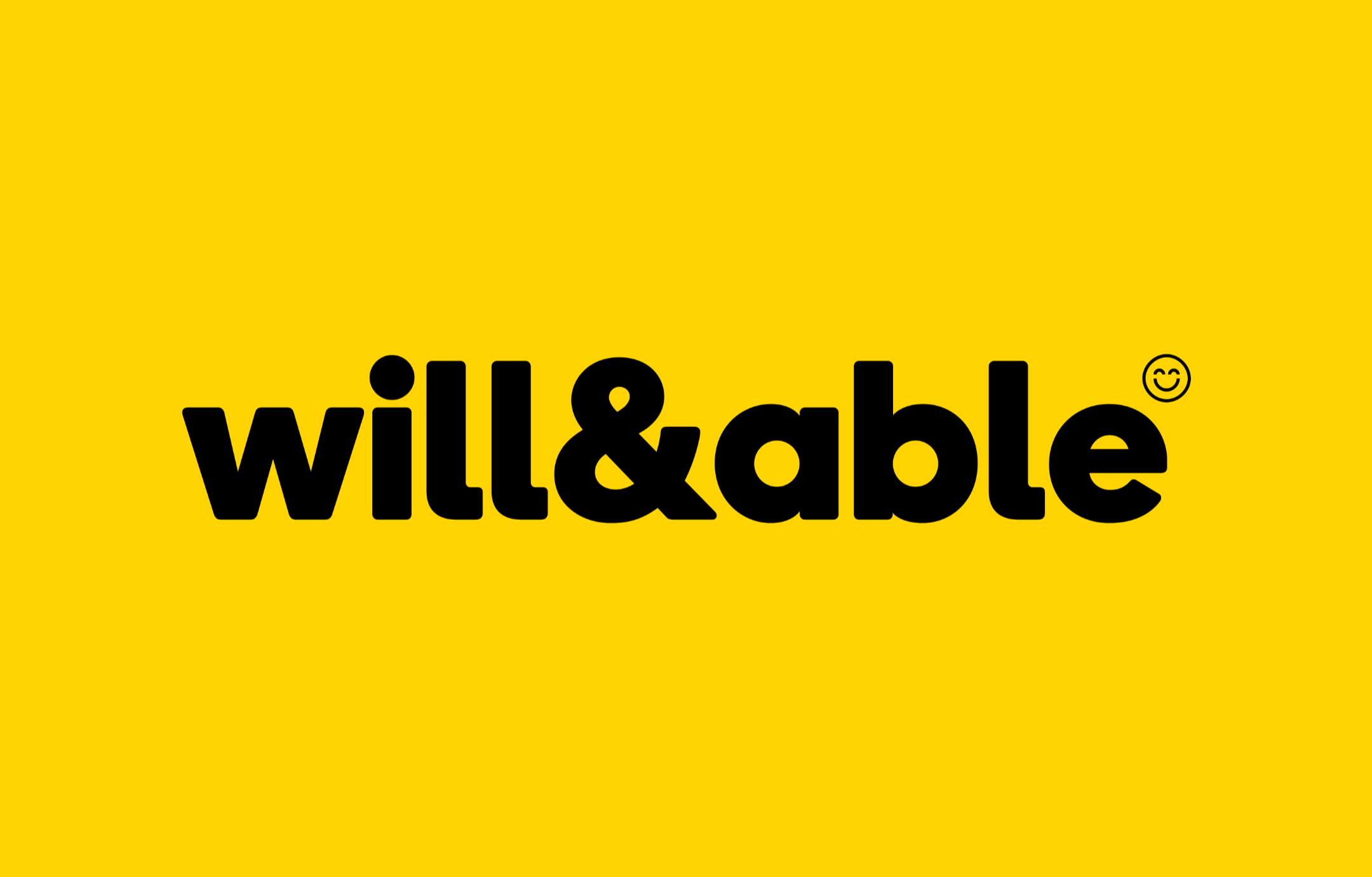 The Will & Able logo, featuring lowercase sans-serif type, in black, on a yellow background