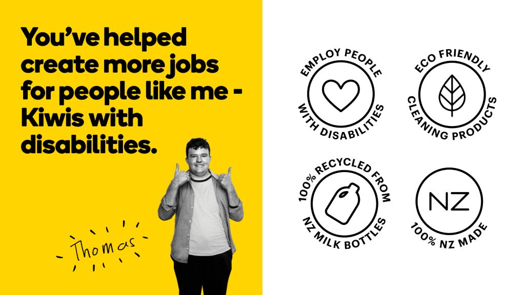 Advertisement for Will & Able featuring a black-and-white portrait of an employee named Thomas and. The left half features a yellow background and a tagline in black; the right half features four circular illustrated labels in black on a white ground